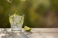 Een glas sodawater op een oude raad, op de aard Royalty-vrije Stock Afbeelding