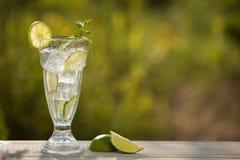 Een glas sodawater op een oude raad, op de aard Stock Afbeelding