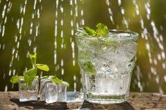 Een glas sodawater op een oude raad, op de aard Stock Foto