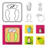 Een glas water, een fles alcohol, een zwetende mens, een appel Pictogrammen van de Diabeth de vastgestelde inzameling in overzich vector illustratie
