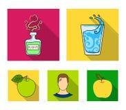 Een glas water, een fles alcohol, een zwetende mens, een appel Pictogrammen van de Diabeth de vastgestelde inzameling in vlakke s Stock Foto