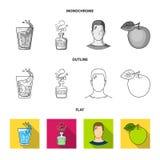 Een glas water, een fles alcohol, een zwetende mens, een appel Pictogrammen van de Diabeth de vastgestelde inzameling in vlakte,  stock illustratie