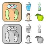 Een glas water, een fles alcohol, een zwetende mens, een appel Pictogrammen van de Diabeth de vastgestelde inzameling in zwart-wi royalty-vrije illustratie