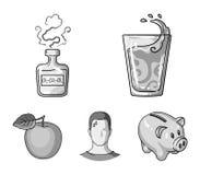 Een glas water, een fles alcohol, een zwetende mens, een appel Pictogrammen van de Diabeth de vastgestelde inzameling in zwart-wi Stock Afbeeldingen