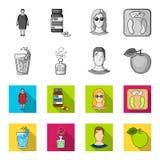 Een glas water, een fles alcohol, een zwetende mens, een appel Pictogrammen van de Diabeth de vastgestelde inzameling in zwart-wi Royalty-vrije Stock Afbeelding