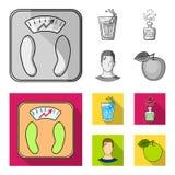 Een glas water, een fles alcohol, een zwetende mens, een appel Pictogrammen van de Diabeth de vastgestelde inzameling in zwart-wi stock illustratie