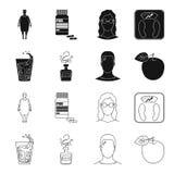 Een glas water, een fles alcohol, een zwetende mens, een appel Pictogrammen van de Diabeth de vastgestelde inzameling in zwarte,  Royalty-vrije Stock Afbeelding