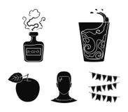 Een glas water, een fles alcohol, een zwetende mens, een appel Pictogrammen van de Diabeth de vastgestelde inzameling in zwarte s Stock Foto