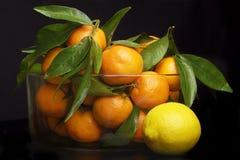 Een glaskruik met vers fruit, Stock Afbeeldingen