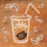 Een glasmok van heet drinkt koffie, thee, enz. En koffiebonen Illustratie met een waterverfachtergrond voor het ontwerp van stock illustratie