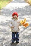 Een glimlachend meisje in de herfstpark Stock Afbeeldingen