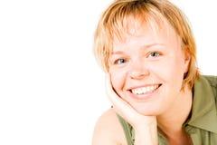 Een glimlachende blonde vrouw Royalty-vrije Stock Fotografie