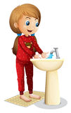 Een glimlachende jonge dame die haar gezicht wassen vector illustratie