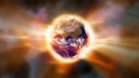 Een globaal het verwarmen aura van hittestraling wikkelt de Aarde in ruimte - Aardeaura 002 HD royalty-vrije illustratie
