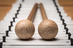 Een Glockenspiel met zwart-witte sleutels en houten houten hamers Stock Afbeelding