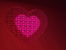 Een gloeiend hart in een patronenhart Stock Afbeeldingen