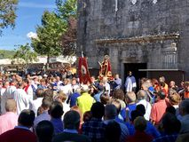 Een godsdienstige festiviteit in Barro, Ponvetedra, Galicië, Spanje royalty-vrije stock foto