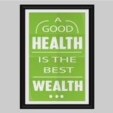 Een Goede Gezondheid is de Beste Rijkdom Stock Foto's