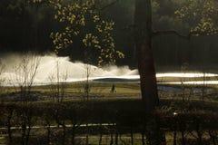 Een golfcursus met wegen, bunkers en vijvers en met boom stock fotografie