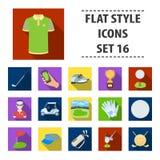 Een golfspeler, een bal, een club en andere golfeigenschappen Pictogrammen van de golfclub de vastgestelde inzameling in flat1-vo Stock Foto's