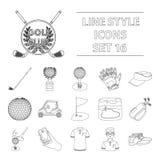 Een golfspeler, een bal, een club en andere golfeigenschappen Pictogrammen van de golfclub de vastgestelde inzameling in vector h Stock Afbeeldingen