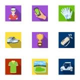 Een golfspeler, een bal, een club en andere golfeigenschappen Pictogrammen van de golfclub de vastgestelde inzameling in de vlakk stock illustratie