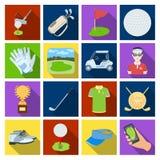 Een golfspeler, een bal, een club en andere golfeigenschappen Pictogrammen van de golfclub de vastgestelde inzameling in flat1-vo royalty-vrije illustratie