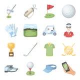 Een golfspeler, een bal, een club en andere golfeigenschappen Pictogrammen van de golfclub de vastgestelde inzameling in vector h stock illustratie