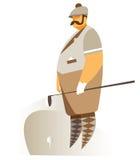 Een golfspeler kleedde zich in retro stijl vector illustratie