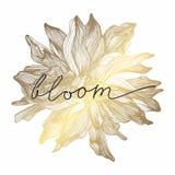 Een gouden bloem Vector illustratie De tekening van de hand vector illustratie