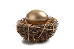 Een gouden Ei in Nest Stock Foto
