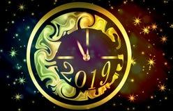 Een gouden klok met het aantal 2019 Nieuwe jaarvooravond Stock Foto's
