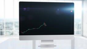 Een grafiek op een grafiek met een indicator die een stijgend punt, uptrend op een computermonitor tonen in het bureau voorraad stock video