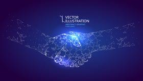 Een grafische handdruk gevormd door punt en lijnverbinding, grafisch ontwerp van wetenschap en technologie vector illustratie