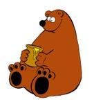 Een grappige illustratie van een beer met een jarr van honing Stock Afbeelding