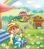Een grappige jongen dichtbij het huis vector illustratie