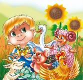 Een grappige jongen met landbouwbedrijfdieren royalty-vrije illustratie