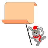 Een grappige Kerstmishaas met een groot leeg document in zijn poten Royalty-vrije Stock Foto