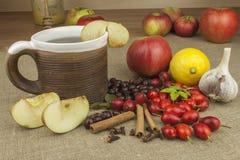 Een griepepidemie Traditionele huisbehandeling voor koude en griep Rozebottelthee, honing en citrusvrucht Royalty-vrije Stock Foto's