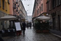 Een grijze dag in Milaan Royalty-vrije Stock Foto's