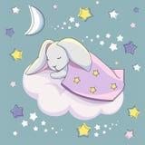 Een grijze haas onder een blauwe deken slaapt op een witte wolk op een blauwe achtergrond met sterren royalty-vrije illustratie