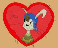 Een grijze rabit op het rode hart prentbriefkaar Royalty-vrije Stock Afbeelding