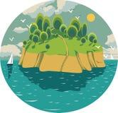 Een groen eiland in het midden van de oceaan Vector Illustratie