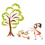 Een groene boom en een meisje die met een vrolijk puppy lopen stock illustratie
