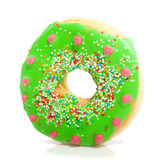 Een groene verglaasde doughnut Stock Afbeeldingen