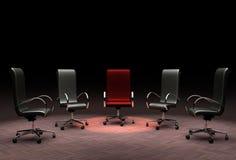 Een groep bureaustoelen die de concepten leiding, tribune uit van de verschillende menigte vertegenwoordigen, vector illustratie