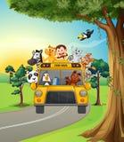 Een groep dieren het reizen vector illustratie