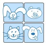 Een groep gelukkig dierlijk gezicht Stock Illustratie