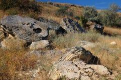 Een groep grote oude stenen stock foto's