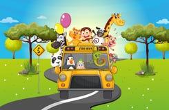 Een groep het gelukkige dieren reizen stock illustratie